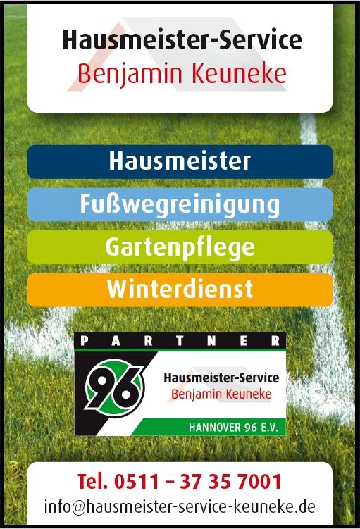 Hannoverscher Sportverein von 1896 e.V. - Sponsor Partnerlogo - gestaltetes AnzeigenLayout von, Hausmeister-Service Benjamin Keuneke, aus Hannover