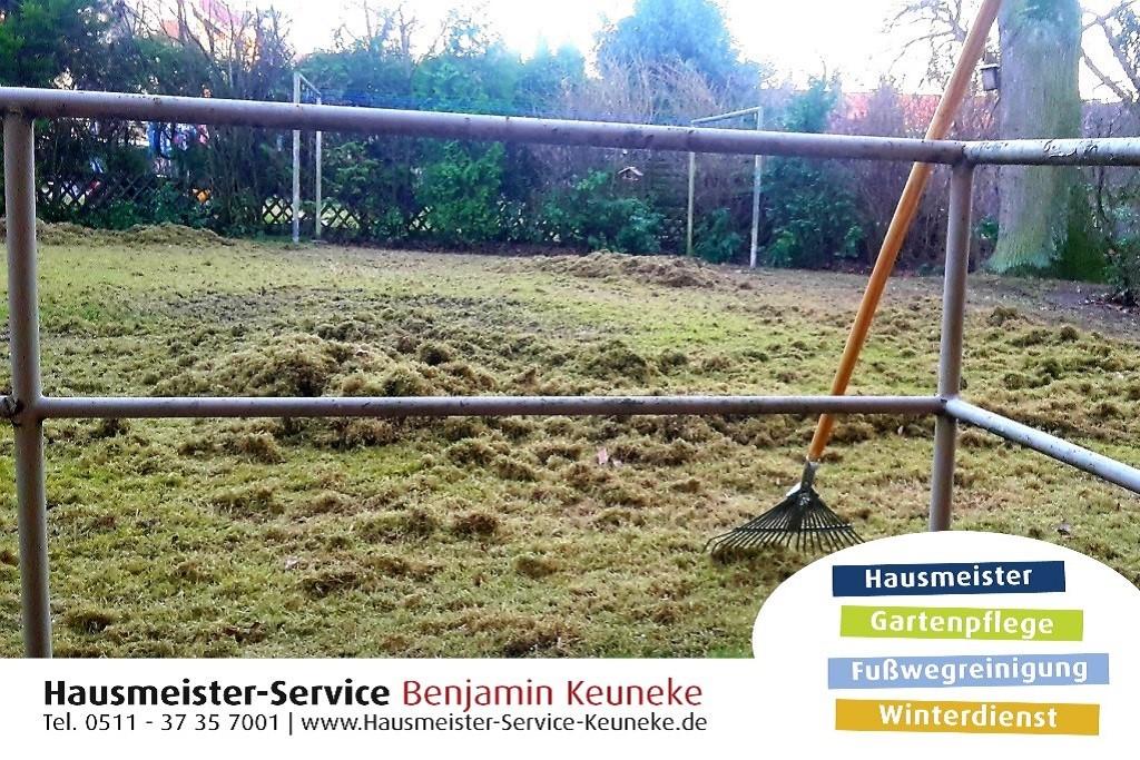 Rasen vertikutieren, zusammenharken und entsorgen, in Hannover